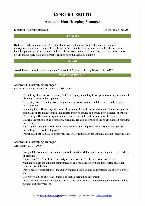 resume samples for housekeeping manager
