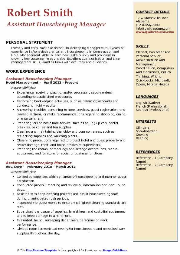 resume sample housekeeping manager