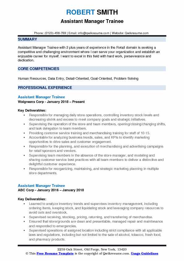 Assistant Manager Trainee Resume Samples QwikResume