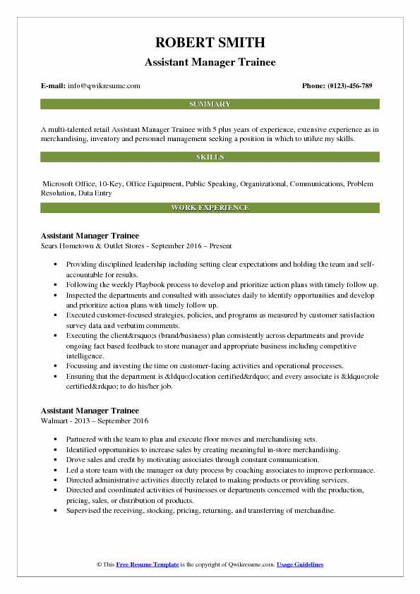 Assistant Bank Manager Resume Sample