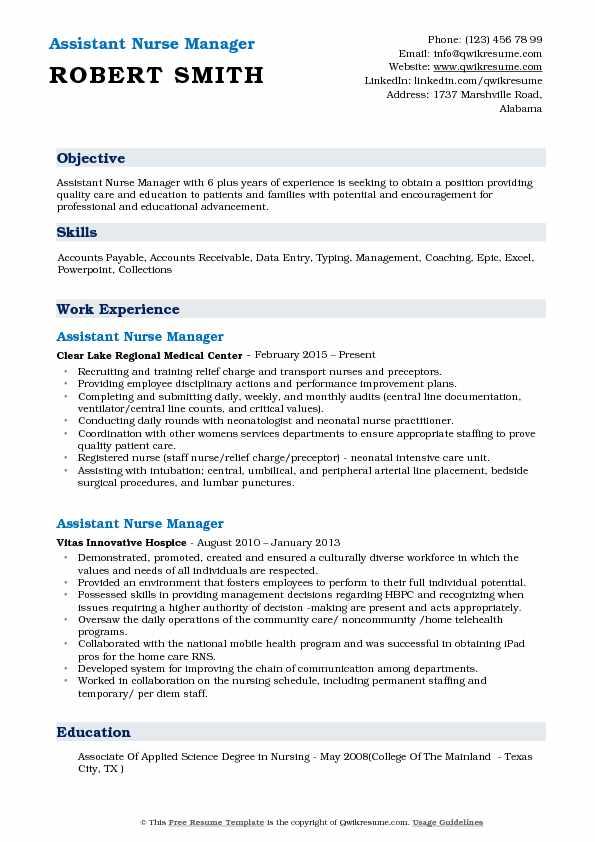 Assistant Nurse Manager Resume Samples QwikResume