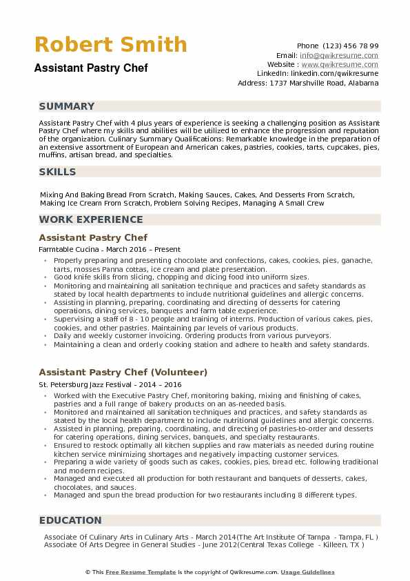Assistant Pastry Chef Resume Samples QwikResume - Assistant Pastry Chef Sample Resume