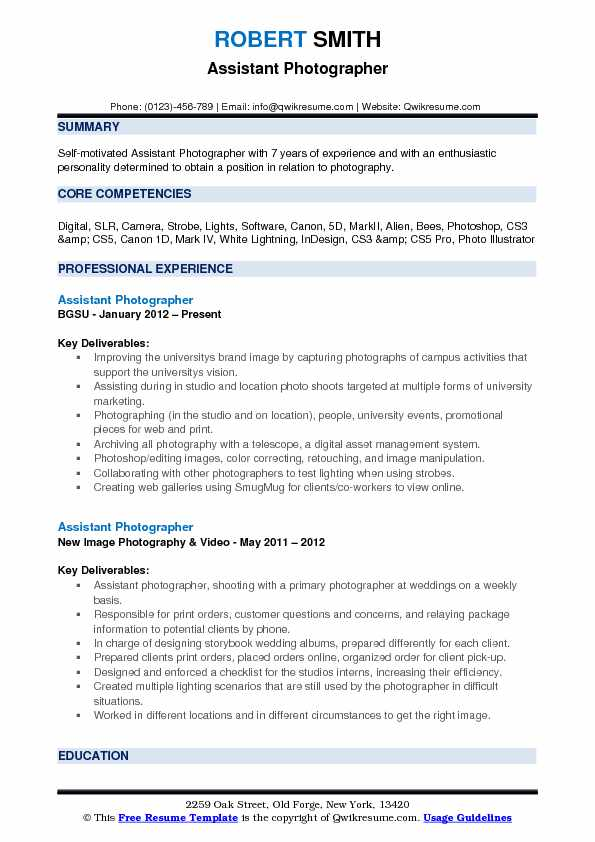 Assistant Photographer Resume Samples QwikResume