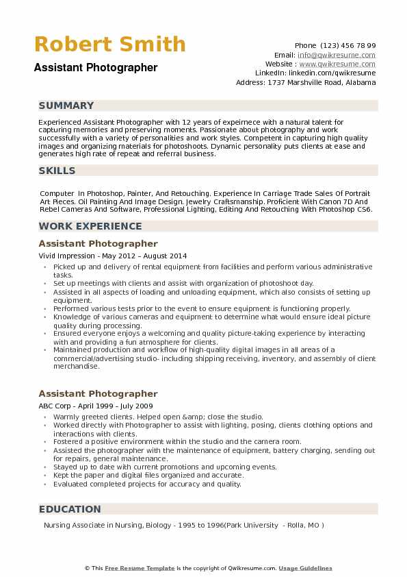 Assistant Photographer Resume Samples QwikResume - Photographer Resume Samples