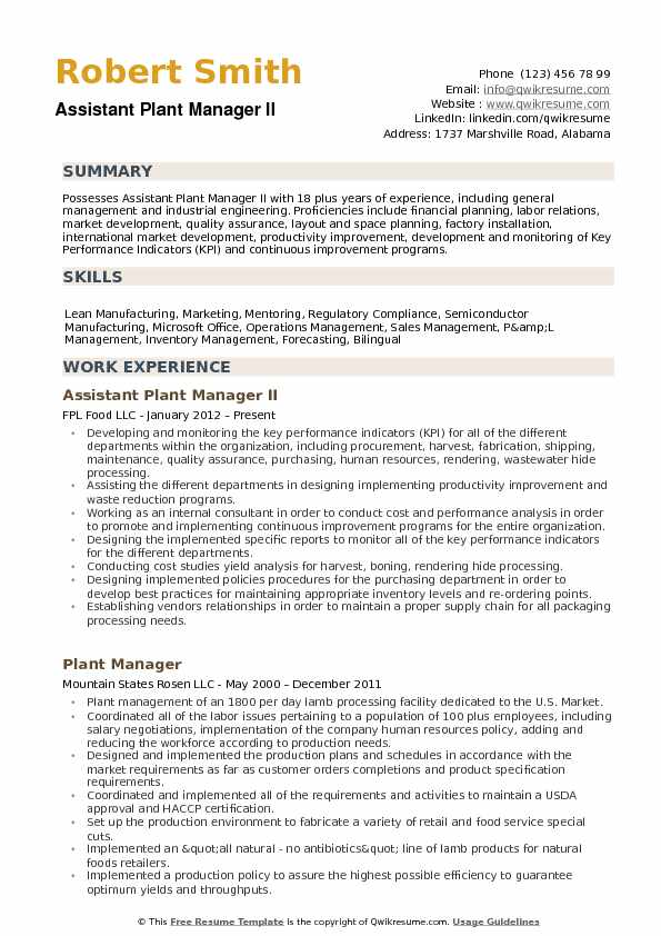 Assistant Plant Manager Resume Samples QwikResume - plant manager resume