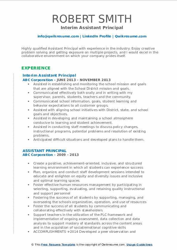 interim lead principal resume samples
