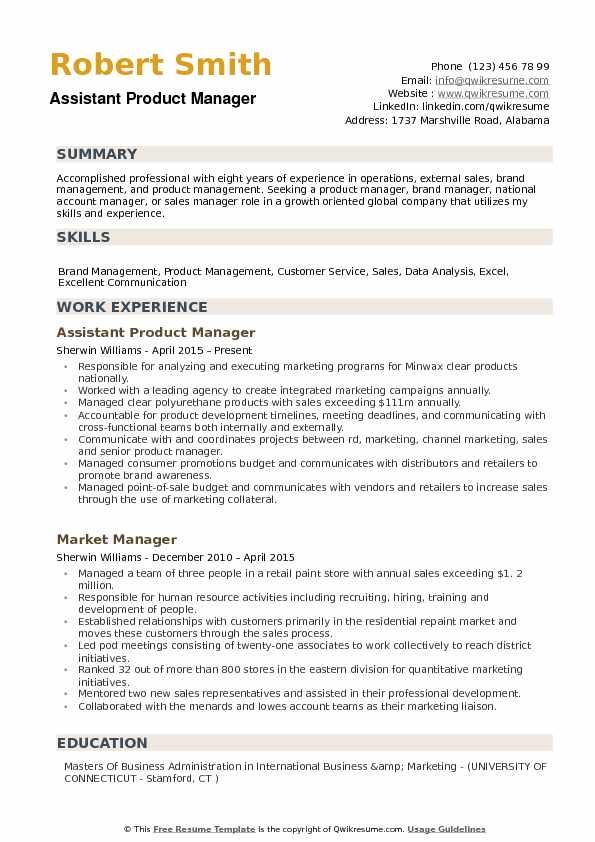 Assistant Product Manager Resume Samples QwikResume