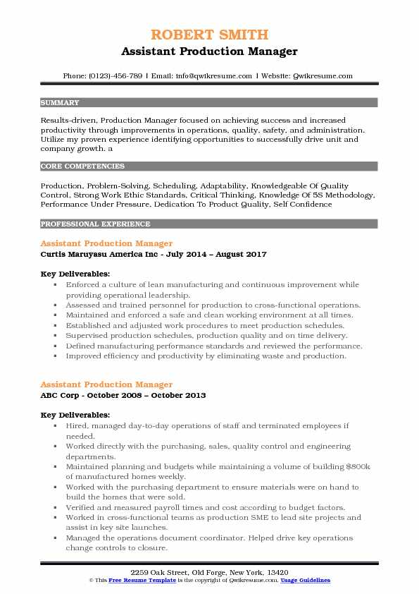 operation production manager resume samples
