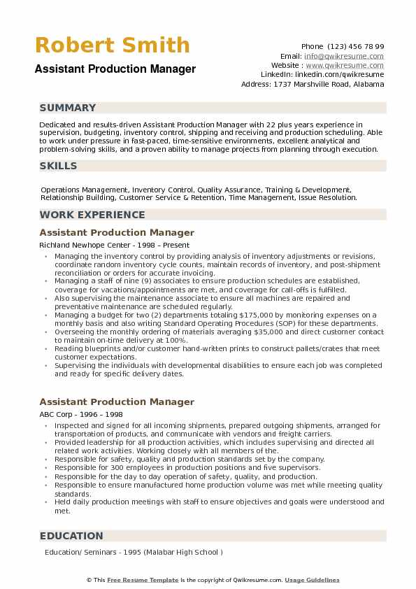 Assistant Production Manager Resume Samples QwikResume - Training Manager Resume