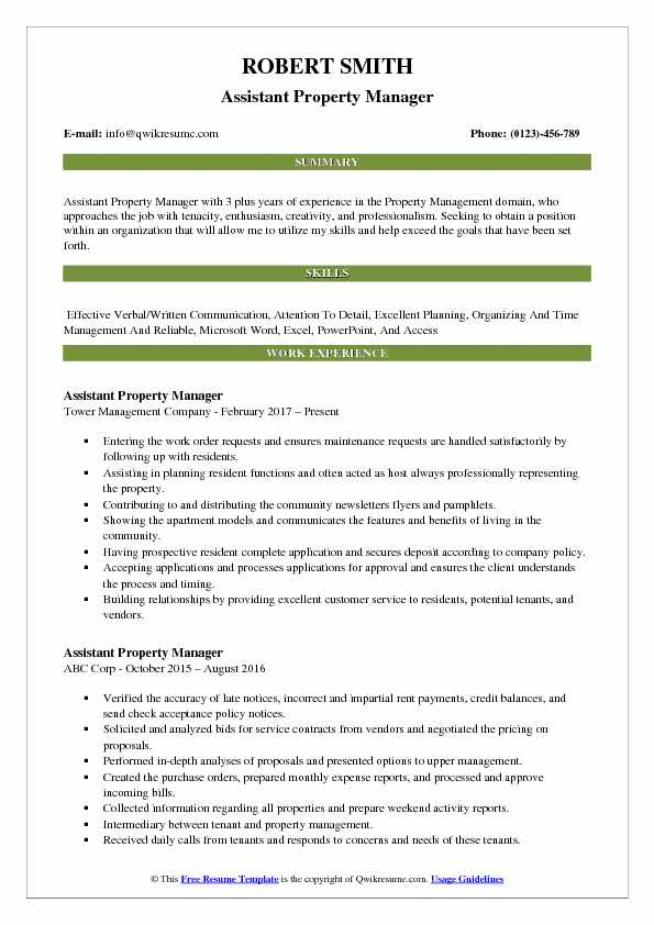 resume objective for property manager