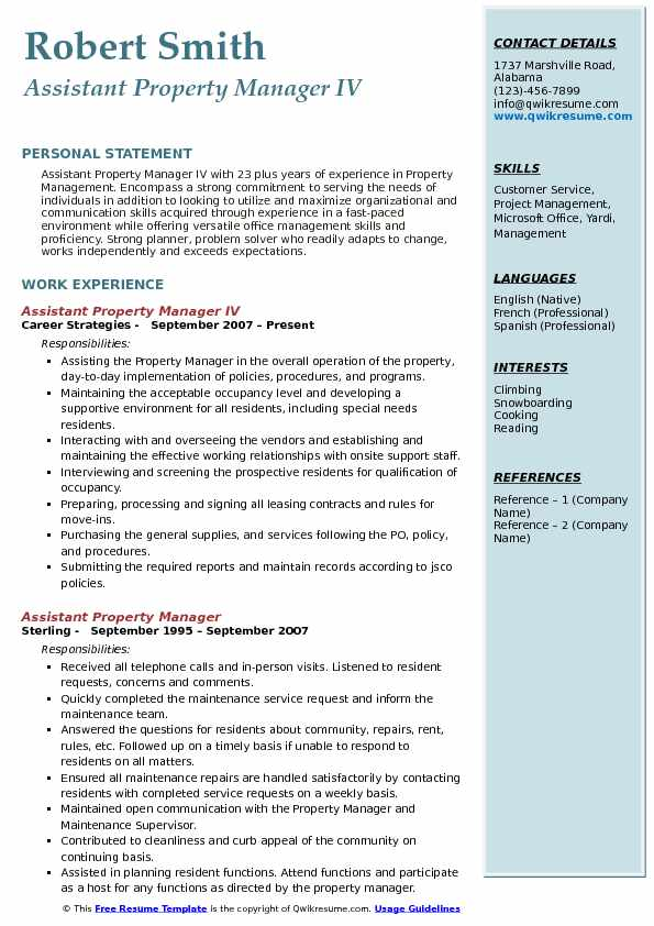 Assistant Property Manager Resume Samples QwikResume