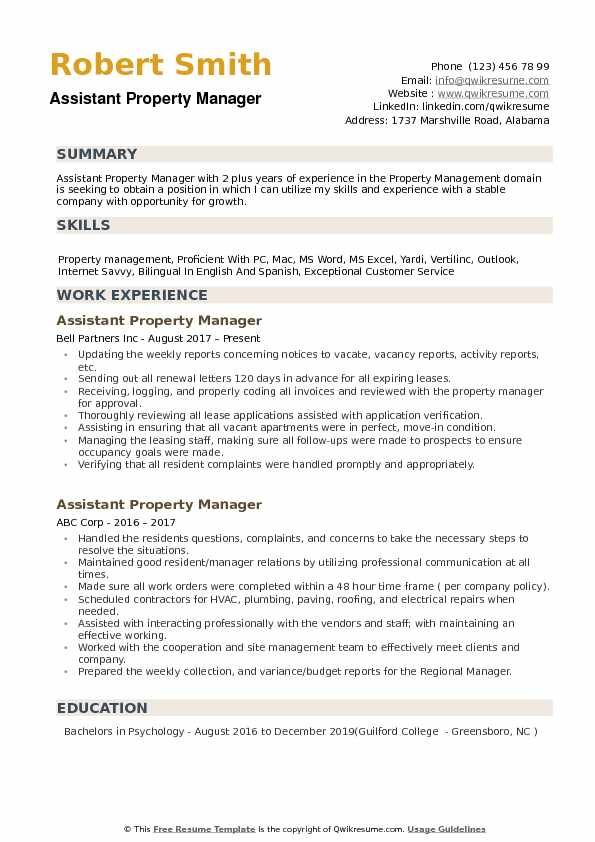 Assistant Property Manager Resume Samples QwikResume - assistant property manager resume