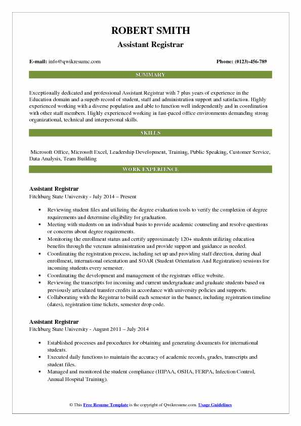 assistant to the registrar resume example
