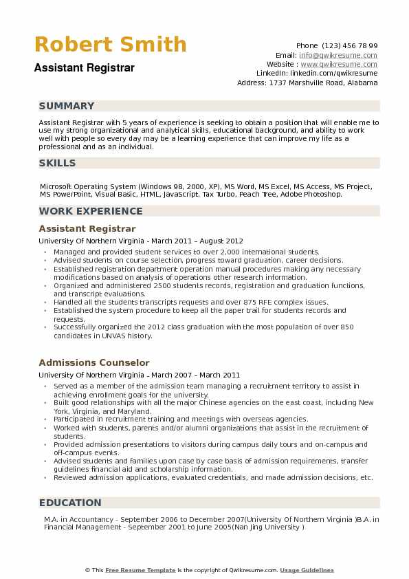 Assistant Registrar Resume Samples QwikResume - College Registrar Sample Resume