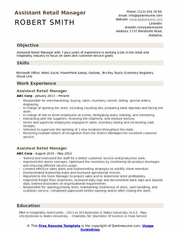 Assistant Retail Manager Resume Samples QwikResume - retail manager resume template