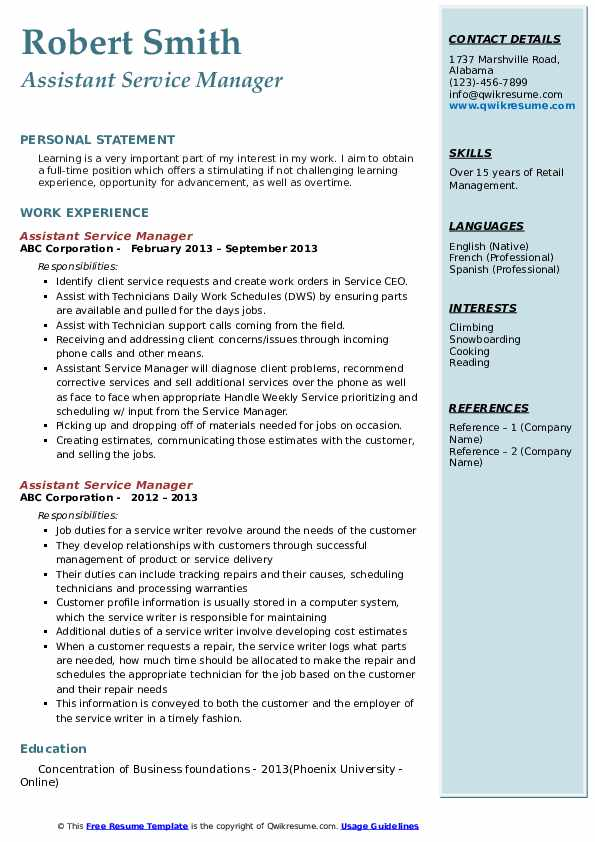 resume headline for assistant manager