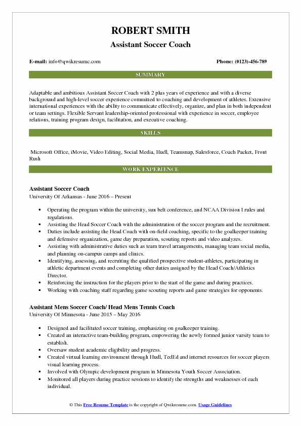 assistant soccer coach resume