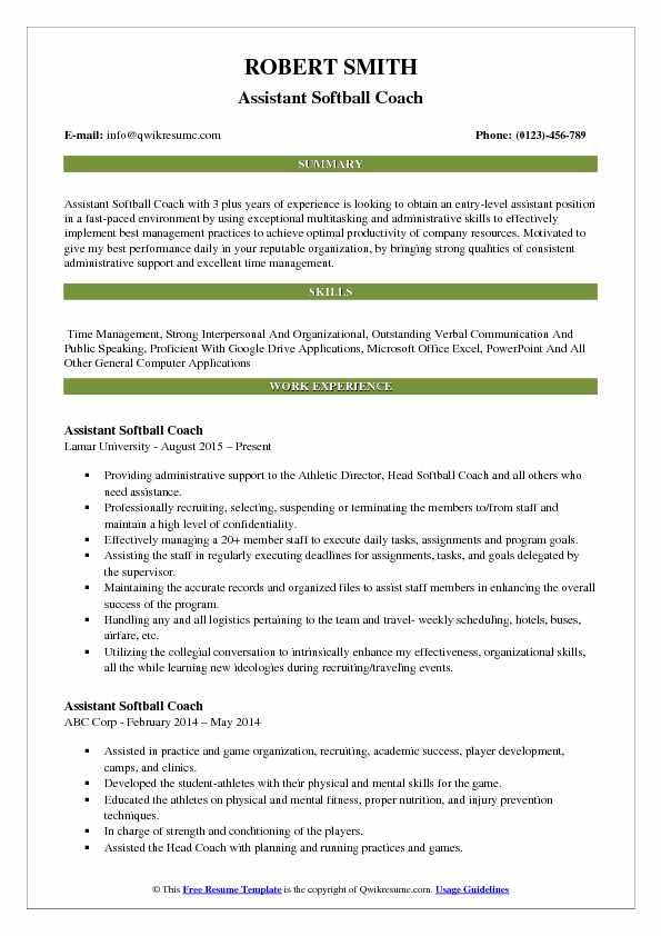 assistant coach resume template download