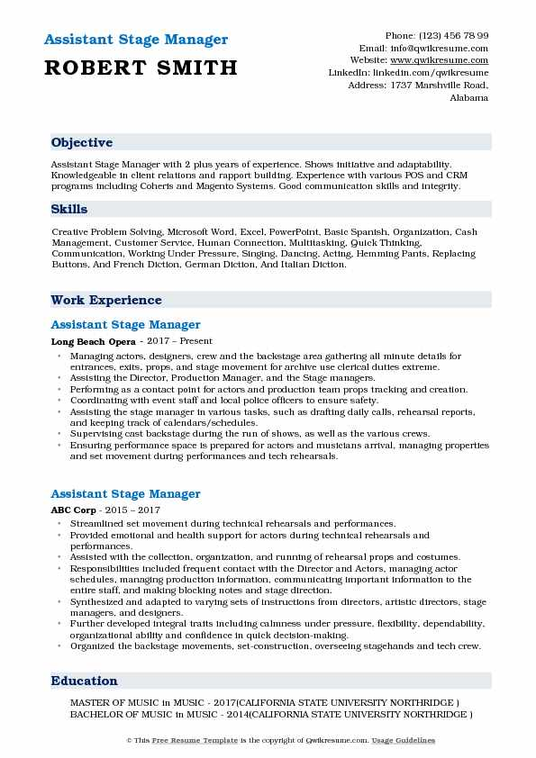 Assistant Stage Manager Resume Samples QwikResume
