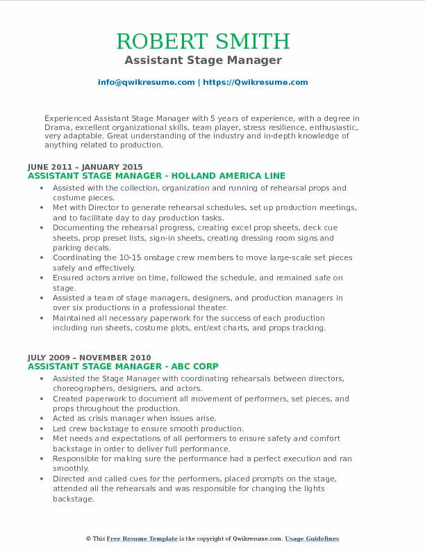 Stage Manager Resume Images - free resume templates word download