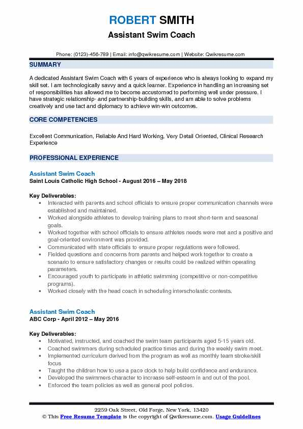 Assistant Swim Coach Resume Samples QwikResume - coaches resume