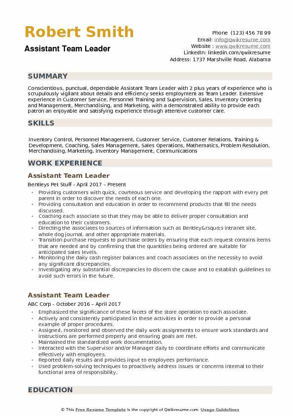 Assistant Team Leader Resume Samples QwikResume