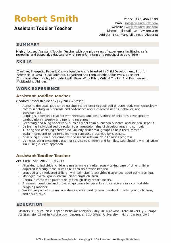 Assistant Toddler Teacher Resume Samples QwikResume - toddler teacher resume