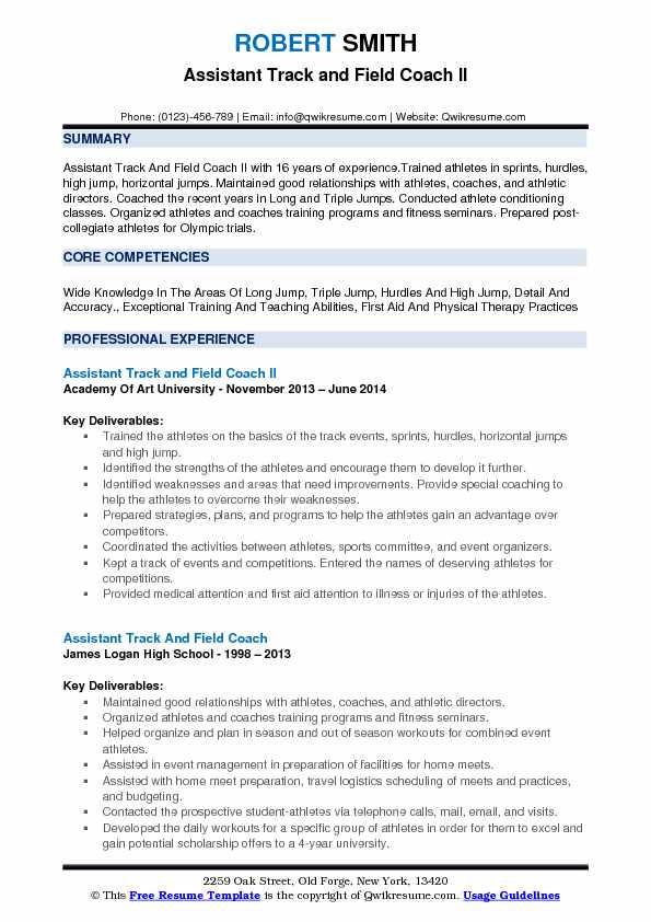 Assistant Track and Field Coach Resume Samples QwikResume