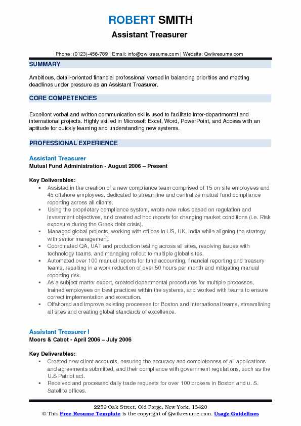 Assistant Treasurer Resume Samples QwikResume