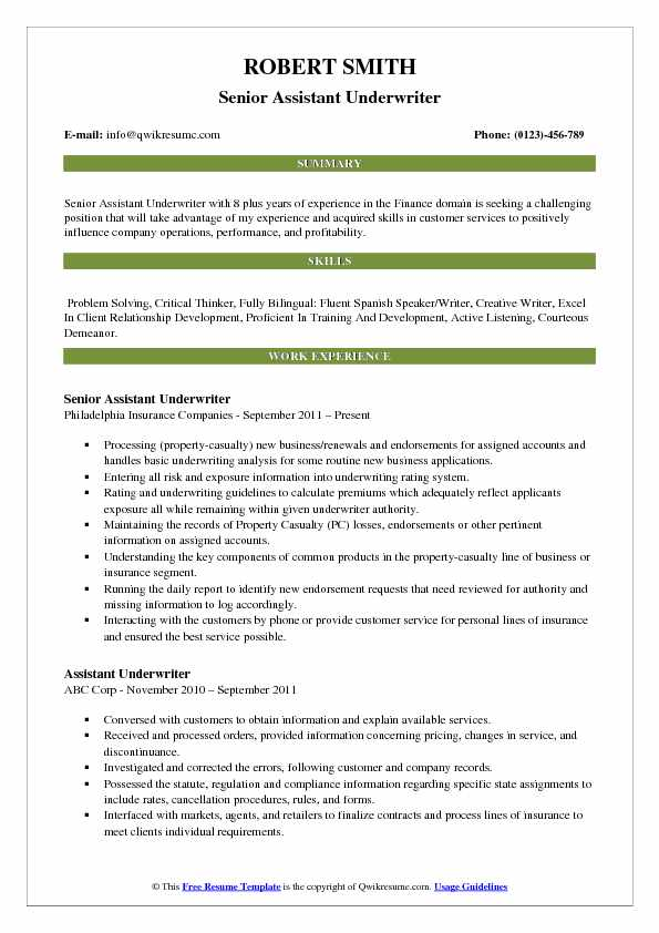 Assistant Underwriter Resume Samples QwikResume