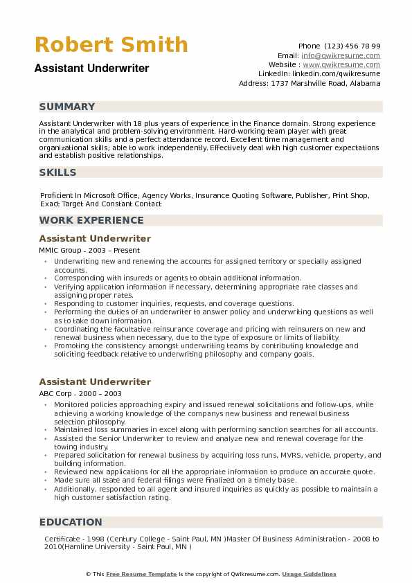 Assistant Underwriter Resume Samples QwikResume - Underwriting Assistant Sample Resume