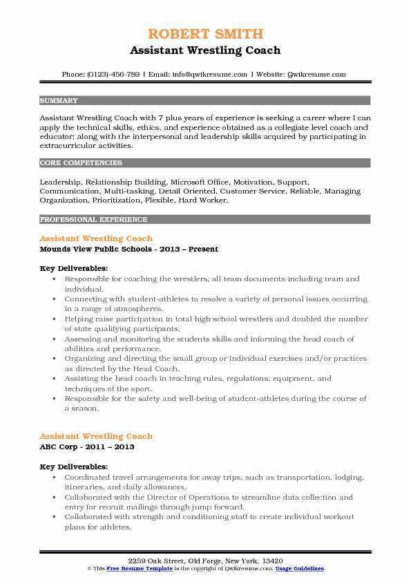 Assistant Wrestling Coach Resume Samples QwikResume - wrestling coach resume