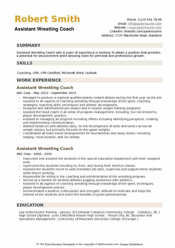 Assistant Wrestling Coach Resume Samples QwikResume