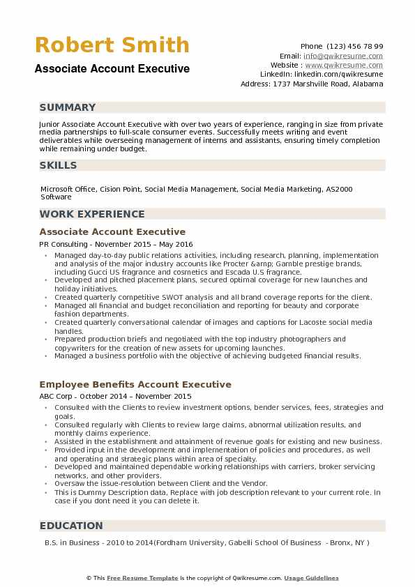 Associate Account Executive Resume Samples QwikResume