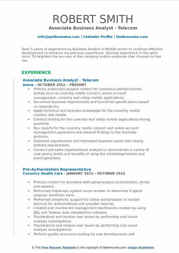 Associate Business Analyst Resume Samples QwikResume - telecom analyst sample resume