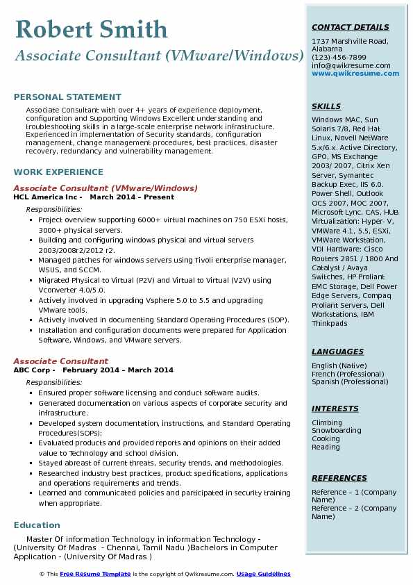 Associate Consultant Resume Samples QwikResume - Vmware Resume