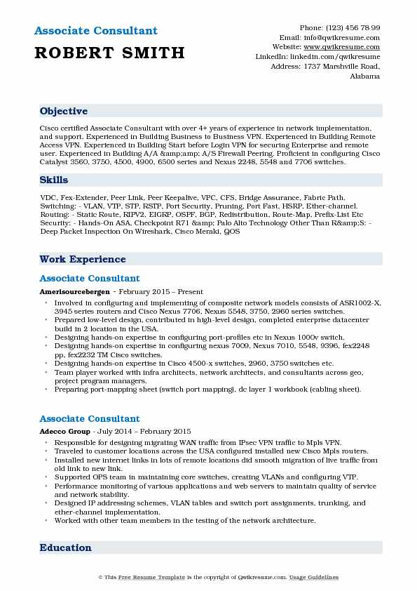 Associate Consultant Resume Samples QwikResume