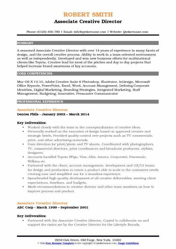 Associate Creative Director Resume Samples QwikResume