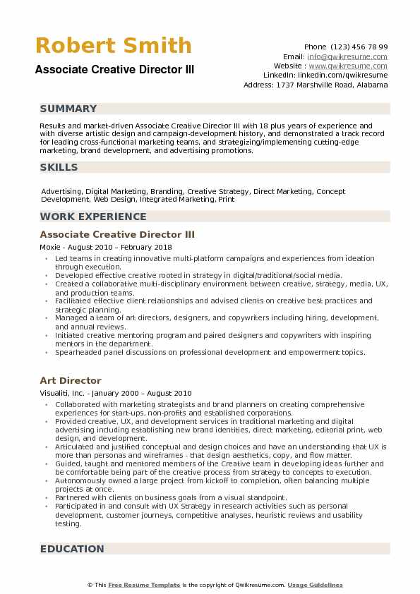 Associate Creative Director Resume Samples QwikResume - creative director resume samples