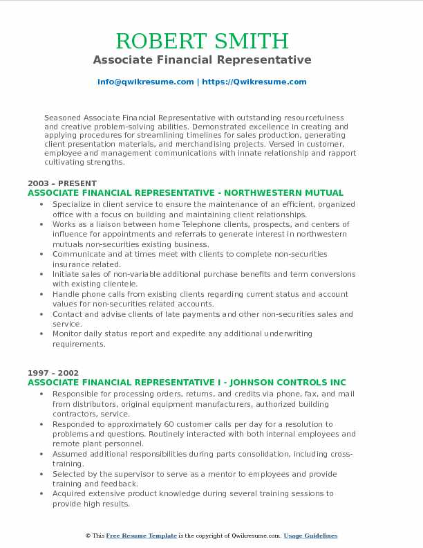 Associate Financial Representative Resume Samples QwikResume