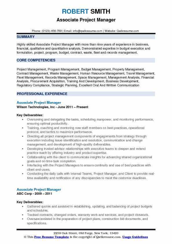 Website Project Manager Resume associate project manager resume
