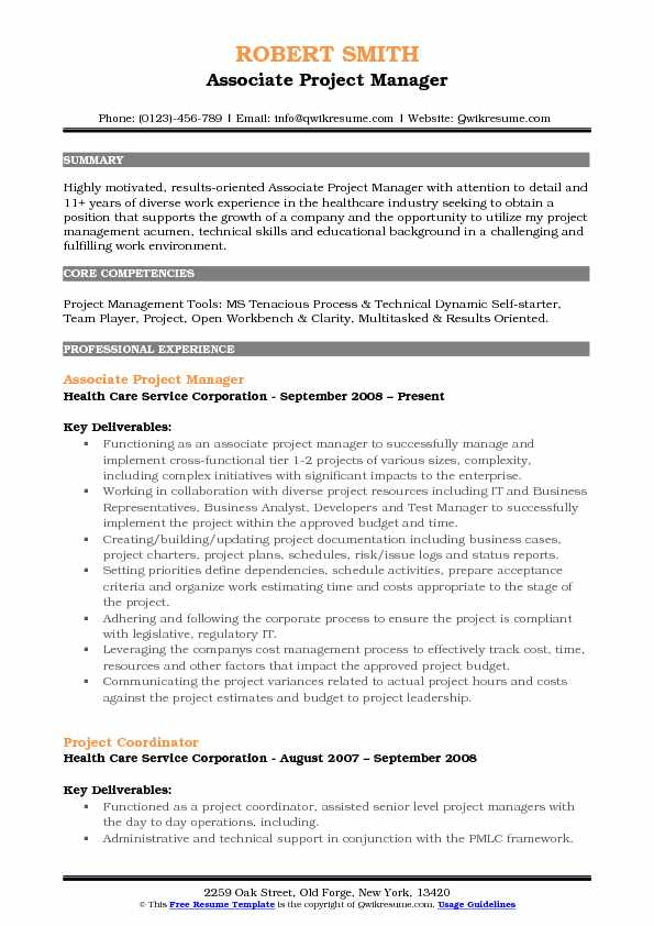 assistant project manager resume sample