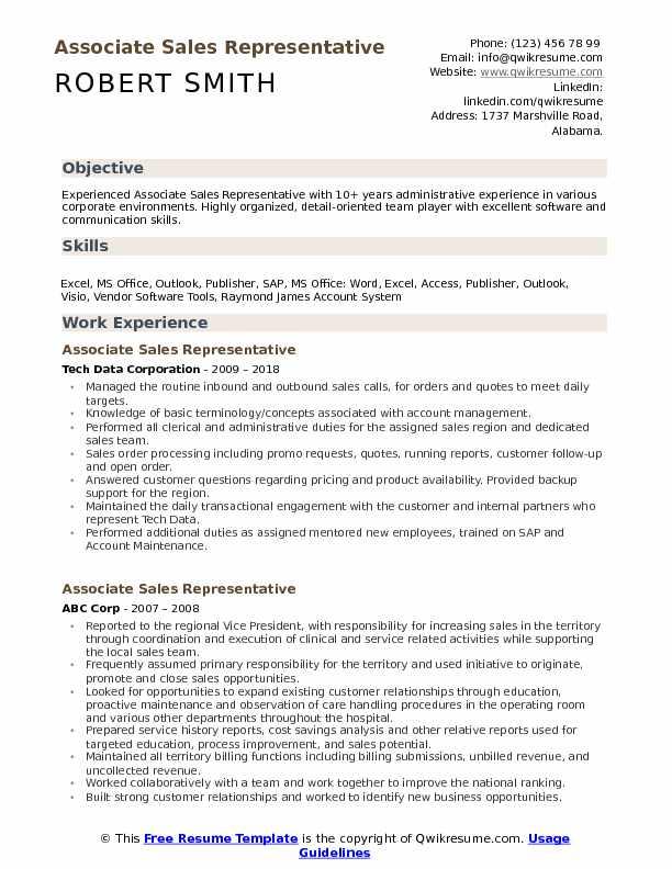 Associate Sales Representative Resume Samples QwikResume
