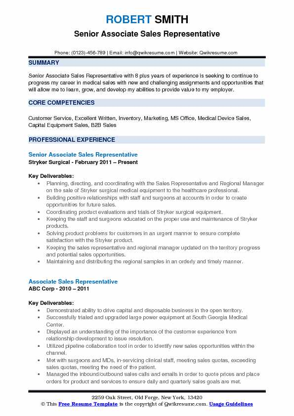 Associate Sales Representative Resume Samples QwikResume - medical device sales resume examples