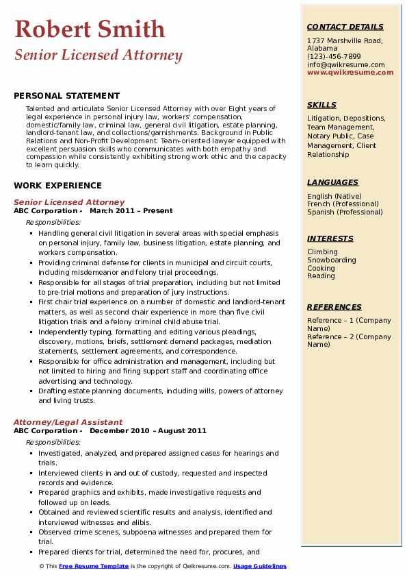 civil litigation attorney resume sample pdf