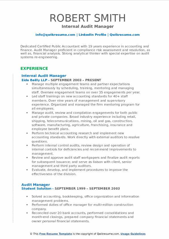Audit Manager Resume Samples QwikResume
