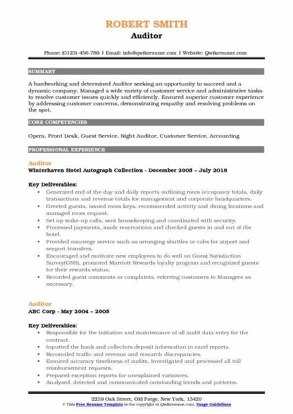 Auditor Resume Samples QwikResume