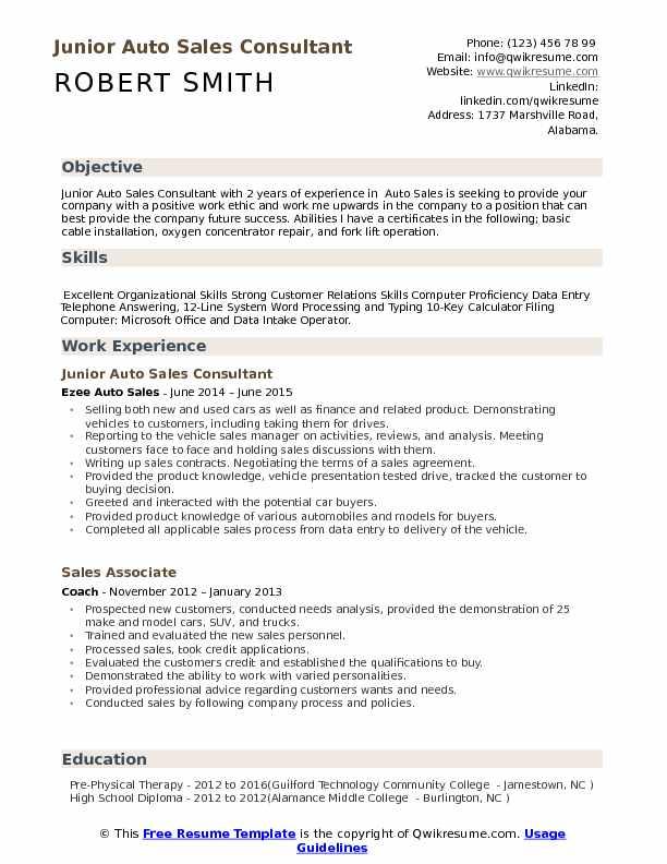 Auto Sales Consultant Resume Samples QwikResume