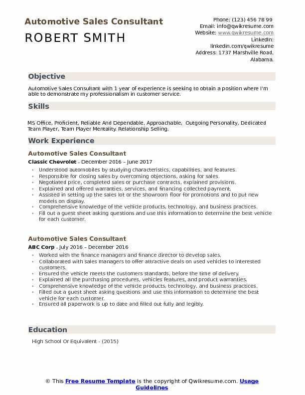 Automotive Sales Consultant Resume Samples QwikResume