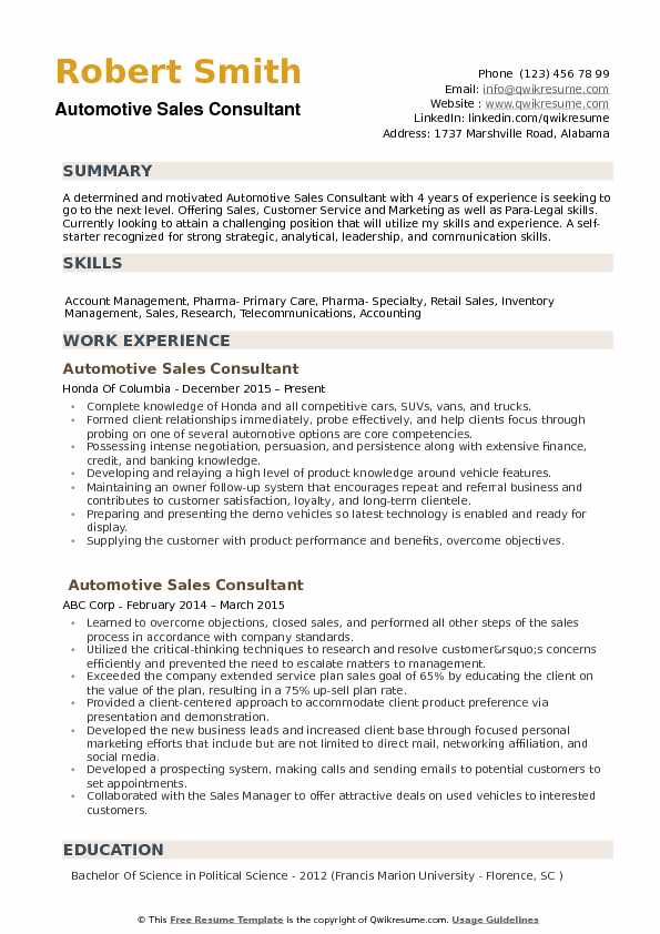Automotive Sales Consultant Resume Samples QwikResume